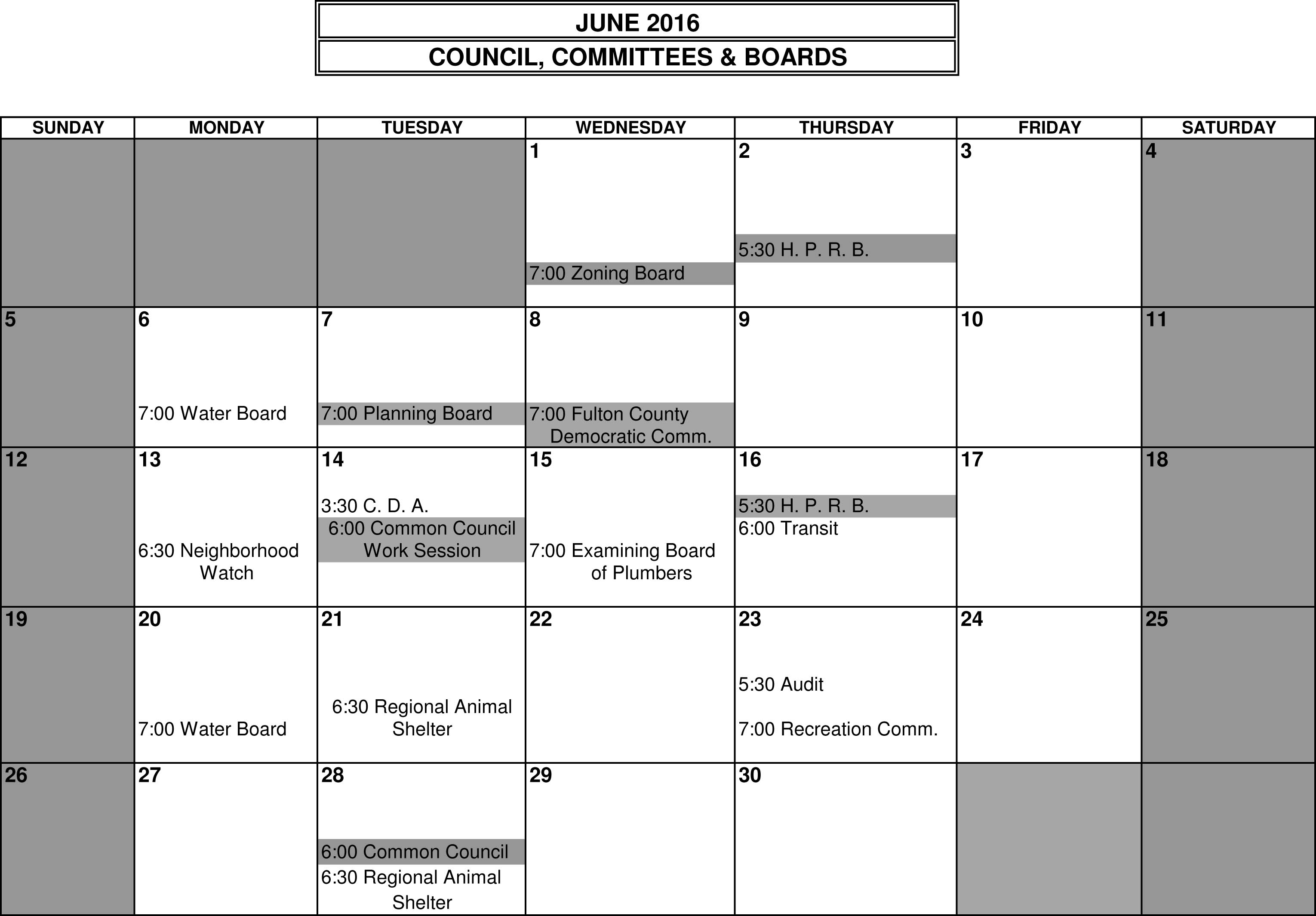Calendar June 2016 City Of Gloversville