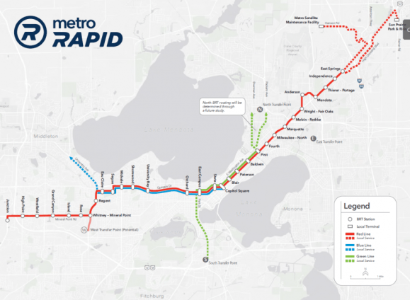 A draft map of Madison's bus rapid transit routes.