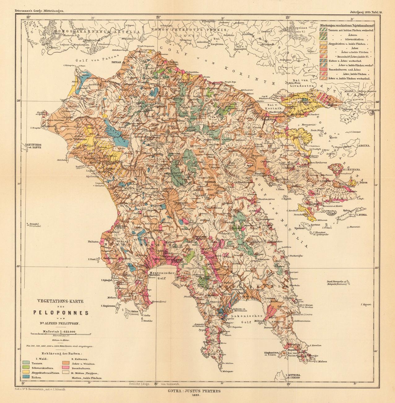 Vegetations-Karte des Peloponnes von Dr. Alfred Philippson_1895