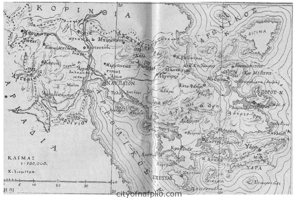 Χάρτης της Αργολίδας από τον οδηγό της Ελλάδας του Μπαίδεκερ (1902)