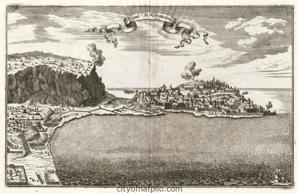 Overall view of city, fortress and bay_Napoli di Romania_1687_Kupferstich v. Johann Christoph Wagner b. Jakob Koppmayer in Augsburg