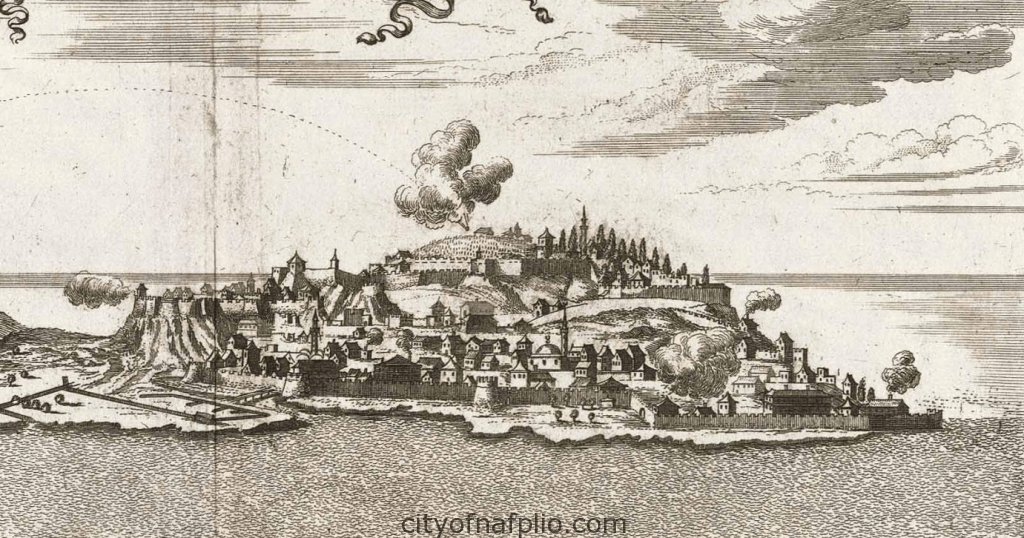 Overall view of city, fortress and bay_Napoli di Romania_1687_detail1