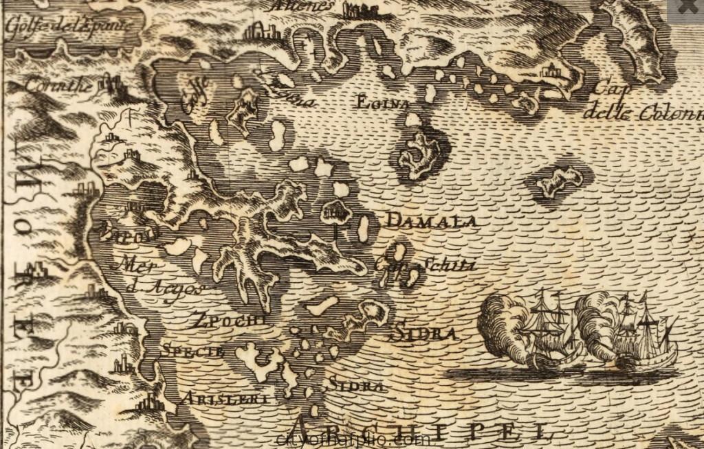 Antique map Peloponnese. Printed in Frankfurt circa 1686_argolis_Alain Manesson Mallet