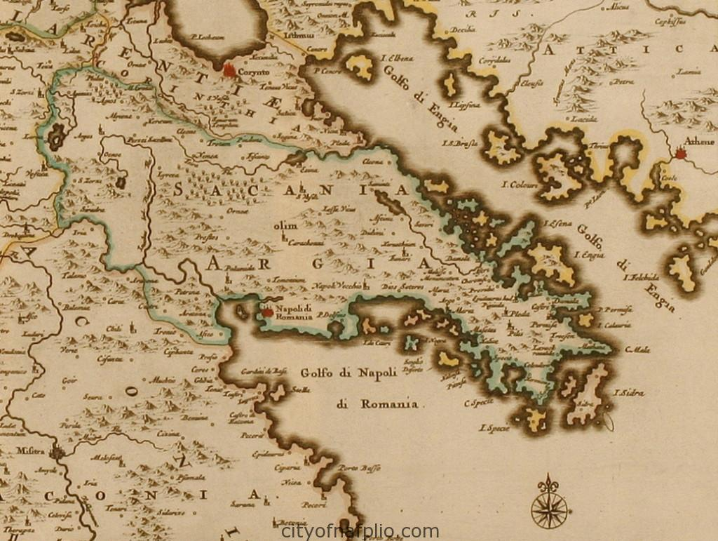 Coloured map of the Peloponnese. Printed in Leyden circa 1713_argolis_Pieter van der Aa