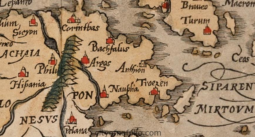 Old coloured woodcut map of Greece. Printed in Basle by Heinrich Petri circa 1588_argolis_Sebastian Münster