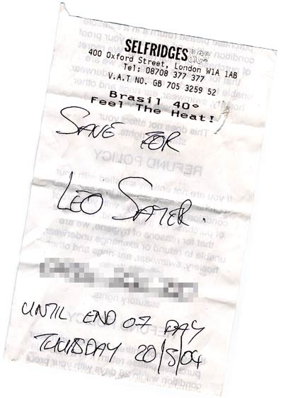 Leo Sayer's number scribbled on a Selfridge's receipt