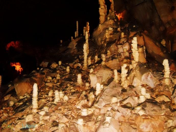 stalagmites in the Bear's Cave/ Pestera Ursilor de la Chiscau