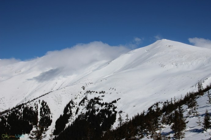 winter hike in the Rodnei Mountains of Romania