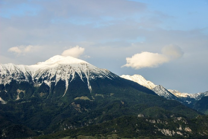 Julian Alps seen from Bled Castle, Slovenia