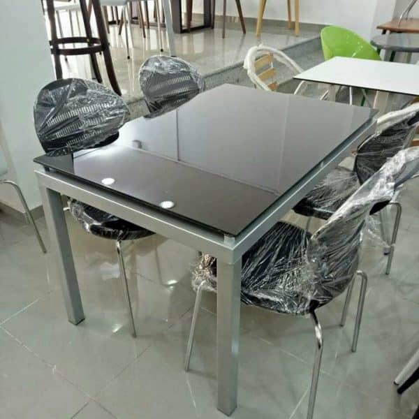 table de cuisine agatha 120x80cm vitre colore 4 chaises spot capitonnees avec chaise bebe gratuit