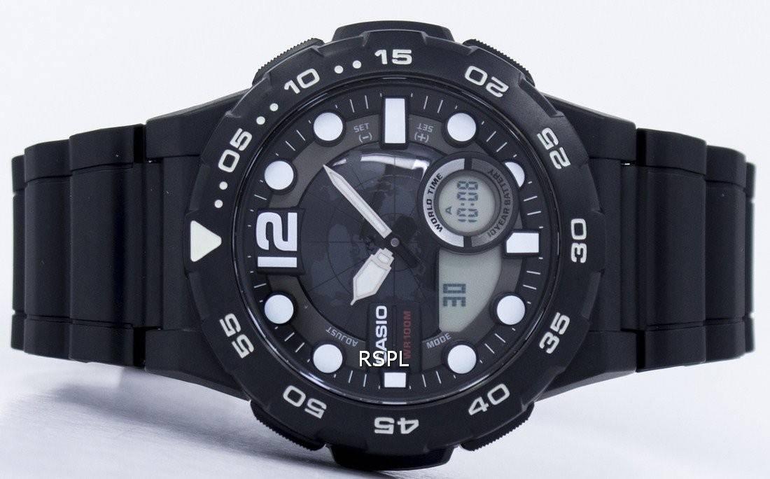 Montre Casio World Time alarme analogique numérique AEQ-100W-1AV masculine France