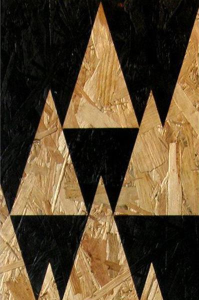 déco osb motifs montagne noir et bois
