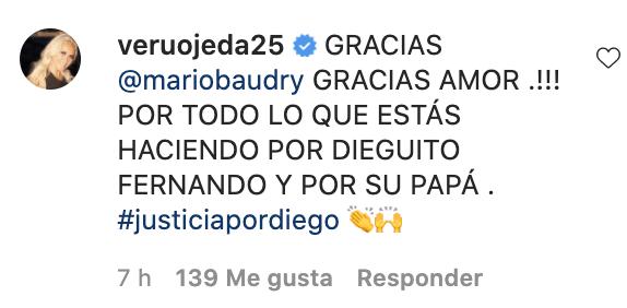 """Fuerte mensaje de Mario Baudry y Verónica Ojeda sobre el caso Maradona: """"Ahora vamos por los que le robaron todo"""""""