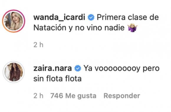 """El divertido comentario de Zaira Nara en un posteo de Wanda por su primera clase de natación: """"Voy sin flota flota"""""""