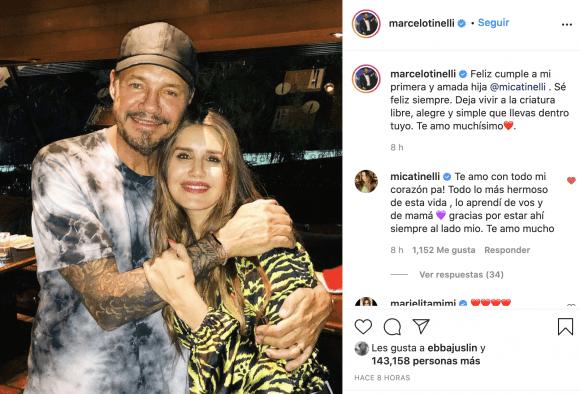 """El profundo mensaje de Marcelo Tinelli a su hija Mica, que cumplió 33 años: """"Deja vivir a la criatura libre que llevas dentro tuyo"""""""