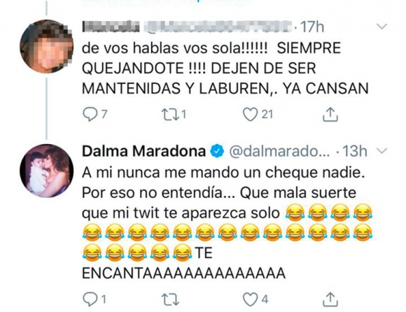 """Fuerte cruce de Dalma Maradona con una seguidora que la trató de """"mantenida"""": """"A mí nunca me mandó un cheque nadie"""""""