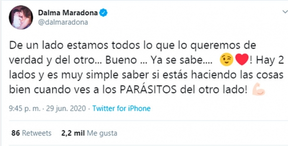 """Explosiva frase de Dalma Maradona contra el entorno de Diego: """"Del otro lado ves a los parásitos"""""""