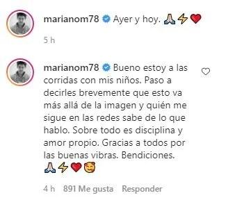 """Mariano Martínez mostró su increíble transformación física y compartió unas profundas palabras: """"Es disciplina y amor propio"""""""