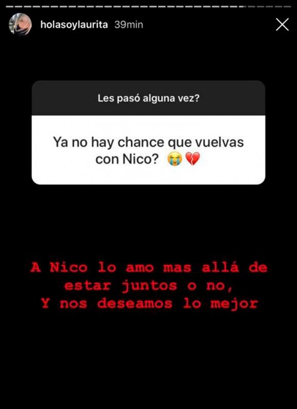"""Fuerte respuesta de Laurita Fernández cuando le preguntaron si hay chances de volver con Cabré: """"A Nico lo amo más allá de estar juntos"""""""