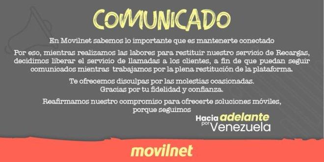 ATENCIÓN USUARIOS MOVILNET / Liberado el servicio de llamadas