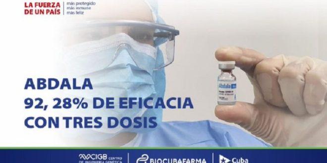 Vacuna Abdala logra el 92 por ciento de eficacia contra la COVID-19