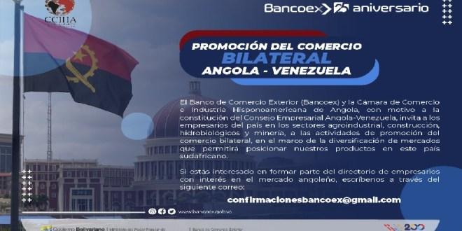 Bancoex invita a participar en la creación del consejo empresarial Angola-Venezuela