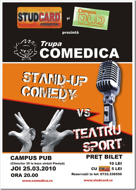 Spectacol COMEDICA : STAND UP vs TEATRU SPORT