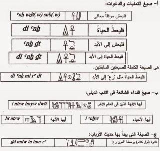بعض من الصيغ الشائعه في النصوص الدينيه المصرية القديمة