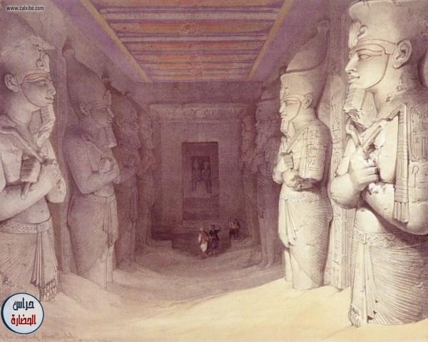 لوحة فنية بريشة المستشرق البريطاني ديفيد روبرتس تجسد رحلته إلى ربوع ومعالم وآثار مصر العظيمة والتي قام بها عام 1838 واستغرقت عاما كامل