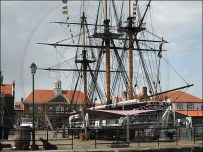 HMS Trincomalee in the foreground at Hartlepool