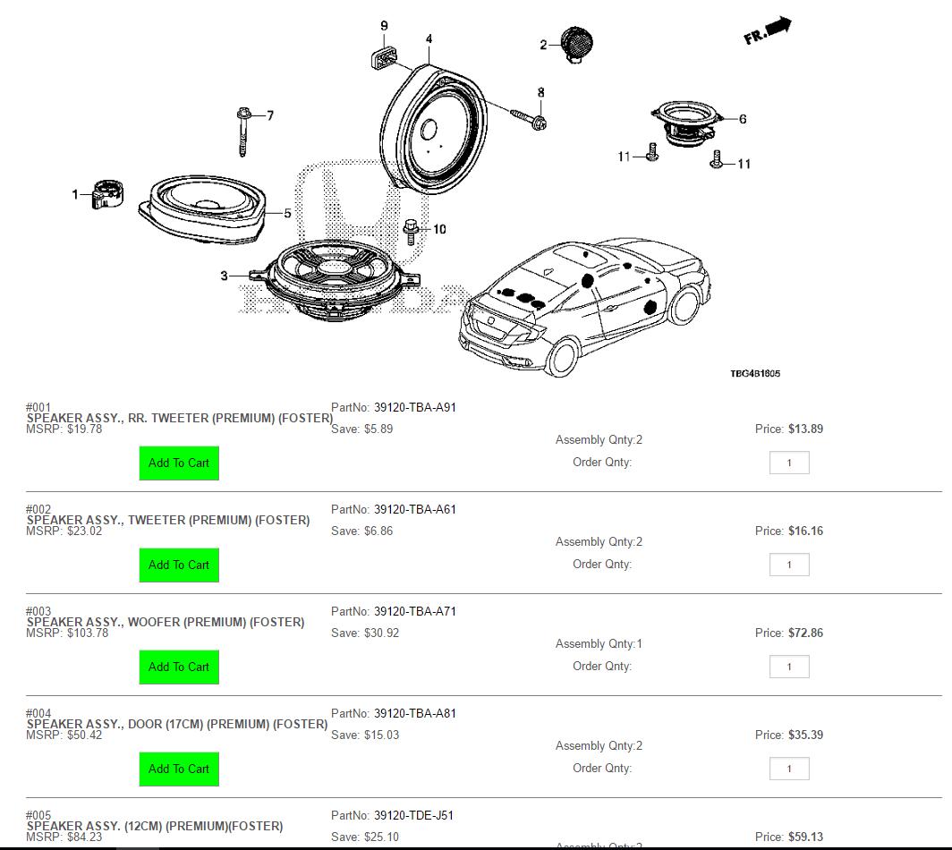 Speaker And Tweeter Wiring Diagram For A 2017 Honda Civic