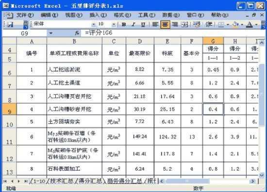 招標評分excel表格免費下載 - 監理軟件 - 土木工程網
