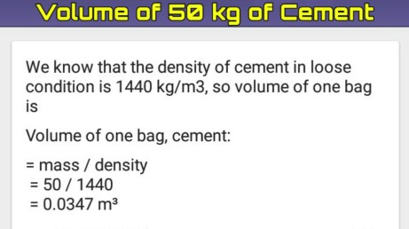 How to calculate volume of 50kg bag of cement