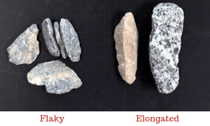 flaky and elongated aggregates