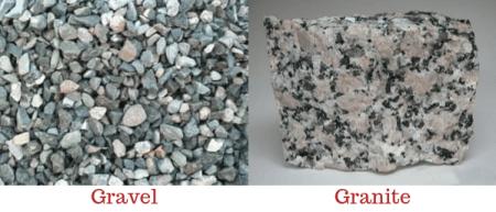 gravel and granite aggregate