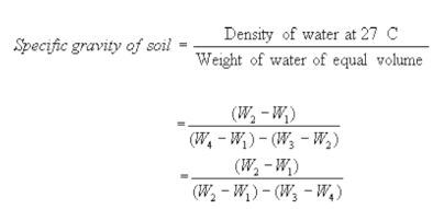calculation of specific gravity