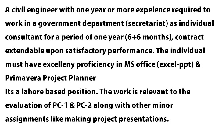 Civil Engineer Required with atleast 1 year experience