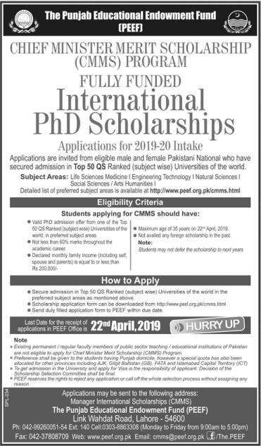 International PhD Scholarships