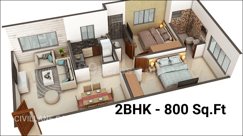 2bhk House Interior Design 800 Sqft Goregaon Mumbai