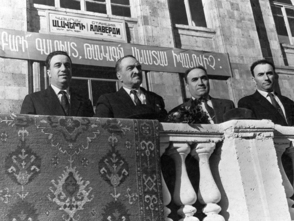 Anastas Mikoyan in Alaverdi, Armenia, with Anton Kochinyan, Yakov Zarobyan, and Yeghishe Astsatryan, 15 March 1962. Courtesy of Avag Harutyunyan of the Armenian National Archives.