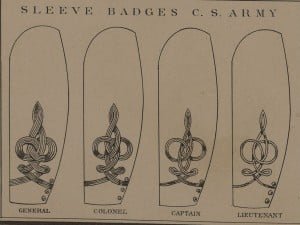 Confederate Civil War Uniforms Sleeve Badges