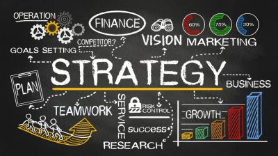 strategy concept hand drawn on blackboard