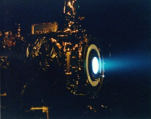 A working Ion Drive test firing from NASA JPL (via wikipedia)