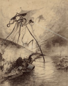 A startling cartoonish Martian war machine steps into the Thames near a capsizing steamer.
