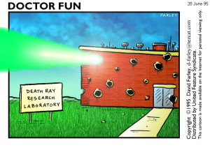 Death ray research facility comic