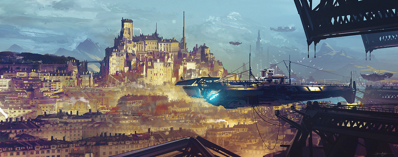 "cinemagorgeous: ""Stunning sci-fi art by Bastien Grivet. "" Well, I'm more dazed than stunned, but yeah."