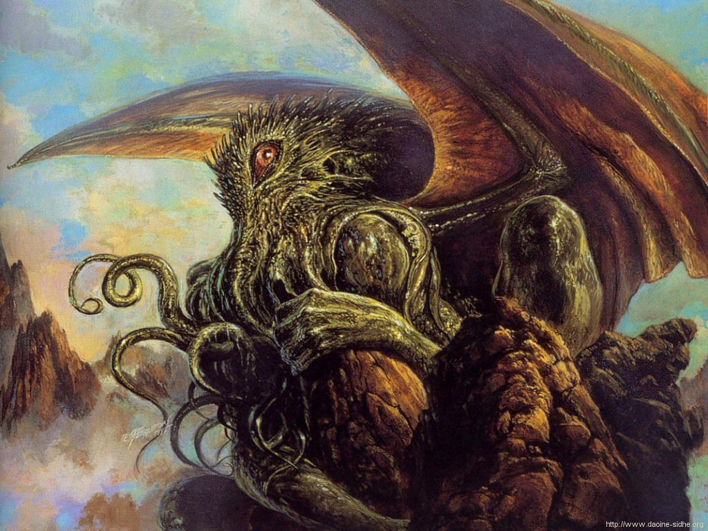 """cryptids-of-the-world: """"Cthulhu is a giant squid-like creature created by H.P. Lovecraft in his short horror story """"The Call of Cthulhu"""". Cthulhu is a Great Old One which in Lovecraftian Lore is a god. Cthulhu has the head of a squid, large bat..."""