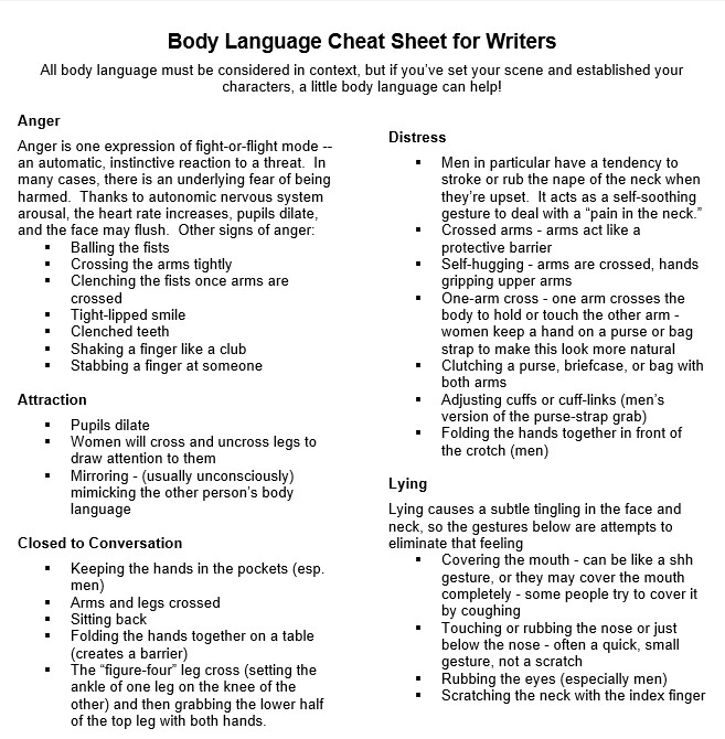 "theinformationdump: "" Body Language Cheat Sheet for Writers As described by Selnick's article: "" Author and doctor of clinical psychology Carolyn Kaufman has released a one-page body language cheat sheet of psychological ""tells"" (PDF link) fiction..."