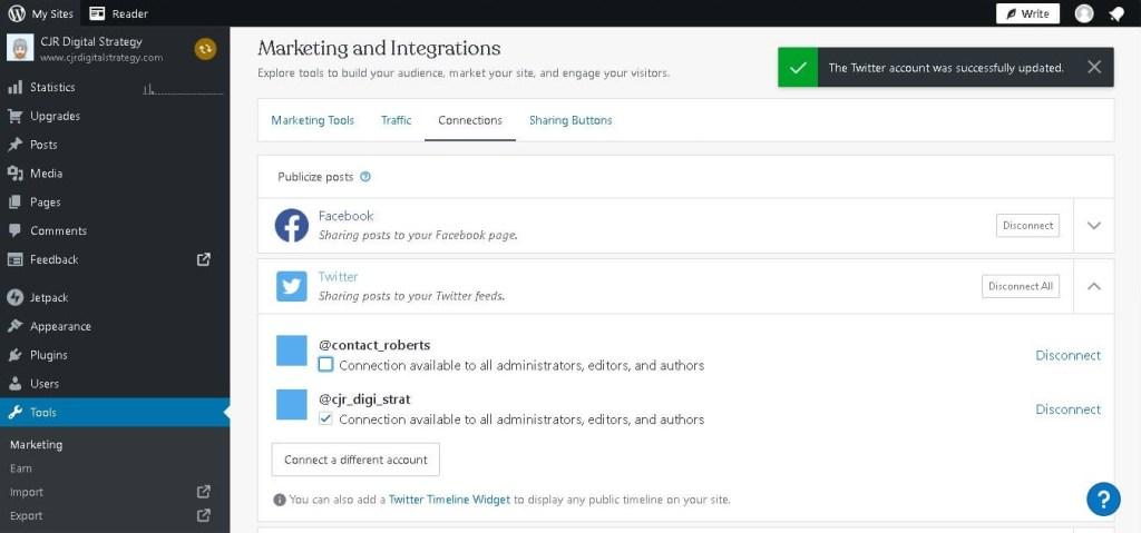 Using Jetpack Plugin to link Twitter up to WordPress blog