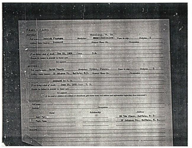German Roman Catholic Orphan Asylum Family Card identifying Sarah's name and incorrect birth place.
